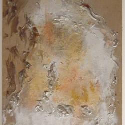 S.T., 1970, colla, polvere di rame e d'argento su tela, 75 x 60 cm