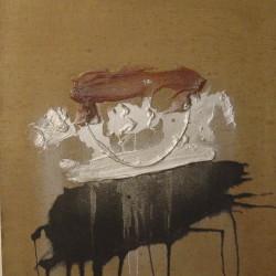 S.T., 1970, colla, polvere d'argento e colore su tela, 73 x 60 cm