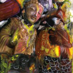 Daniele Girardi, Lost friends, 2007, tecnica mista su tela, 75x100 cm