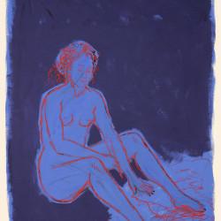Disegnando, 2006, tempera vinilica su carta,  140 x 100 cm