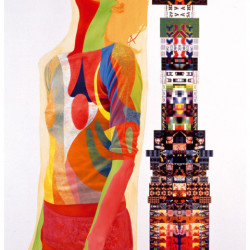 Ducotone valley, 2001, olio e plotting su tela, sampietrino, cm 160 x 114