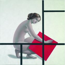 Post geometrico, 2009, olio su tela, 100x100 cm