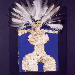Al Hansen, Verona Venus, 1989, piume su pannello, 80 x 60 cm