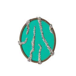 Arch Connelly, Hot B., 1987, perle e pietre su specchio e cornice, 46,5x37 cm