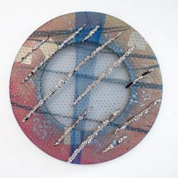 Arch Connelly, Untitled, 1987, perle e pietre su tessuti, Ø 100,5 cm
