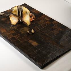 Silvano Tessarollo, Interno/4, 2007, cartone, resina, cera, colori industriali, stracci, 168x110x32 cm