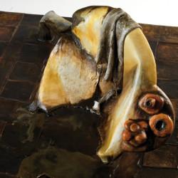 Silvano Tessarollo, Interno/4, particolare, 2007, cartone, resina, cera, colori industriali, stracci, 168x110x32 cm