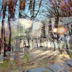 Trees4, 2014, matite colorate, pennarello, acrilico su foto, digitalizzata e stampata su plexiglas trasparente, 92 x 69 x 0,8 cm