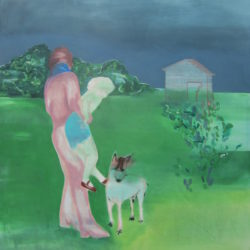 Greta Pllana, Sfidava la paura lasciandosi in bici senza mani, 125,5 x 145 cm, olio e grafite su tela, 2016
