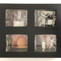 A. A. Misson, Floating mental theatre, '70-'80, tecnica mista in box di legno, vetro + neon, 99,5 x 21,5 x 83 cm