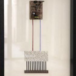 B. Heidsieck, Circuits integres 1, 1989, circuiti integrati e scritture serigrafate su carta, 70 x 50 cm