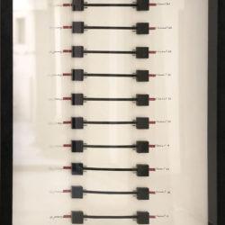 B. Heidsieck, Circuits integres 2, 1989, circuiti integrati e scritture serigrafate su carta, 70 x 50 cm
