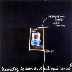 Ben Vautier, Ron-ron, 1987 ,70 x 70 cm, scatola di latta, motorino su pannello 2