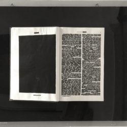 """Emilio Isgro′, Volume VI dell'Enciclopedia Treccani """"Banato"""", 1970 intervento su libro montato su legno in teca di plexiglas 75 x 50 cm"""