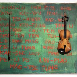 Franco Verdi-Sarenco, Cosa resta (Bilder zum horen), 1983, acrilico su tela + violino, 121 x 100 cm