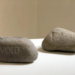 George Brecht, Void, 1989 due sassi incisi 12 x 18 x 14 cm - 10 x 16 x 12 cm
