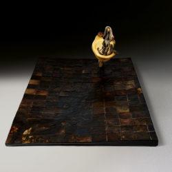 Silvano Tessarollo, 2007, Interno/5, scultura cm 168x110x51h, tecnica: cartone, resina, cera, colori industriali e stoffa