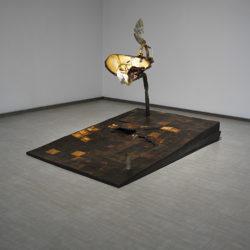Silvano Tessarollo, Interno/2, 2007, cartone, resina, cera, colori industriali, stoffa e specchio
