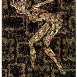 Al Hansen, Thunder Thighs Odalisque, 1970, mozziconi su moquette, cm 67x49