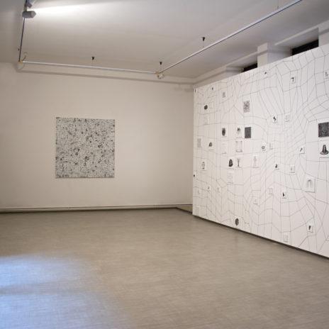Andrea Bianconi, veduta della sala con installazione site specific, Ermes - La Giarina Arte Contemporanea, Verona
